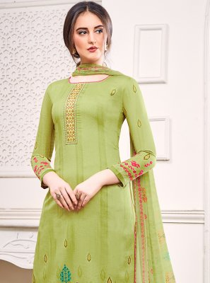 Satin Green Designer Salwar Kameez