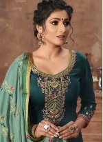Satin Green Embroidered Pant Style Suit