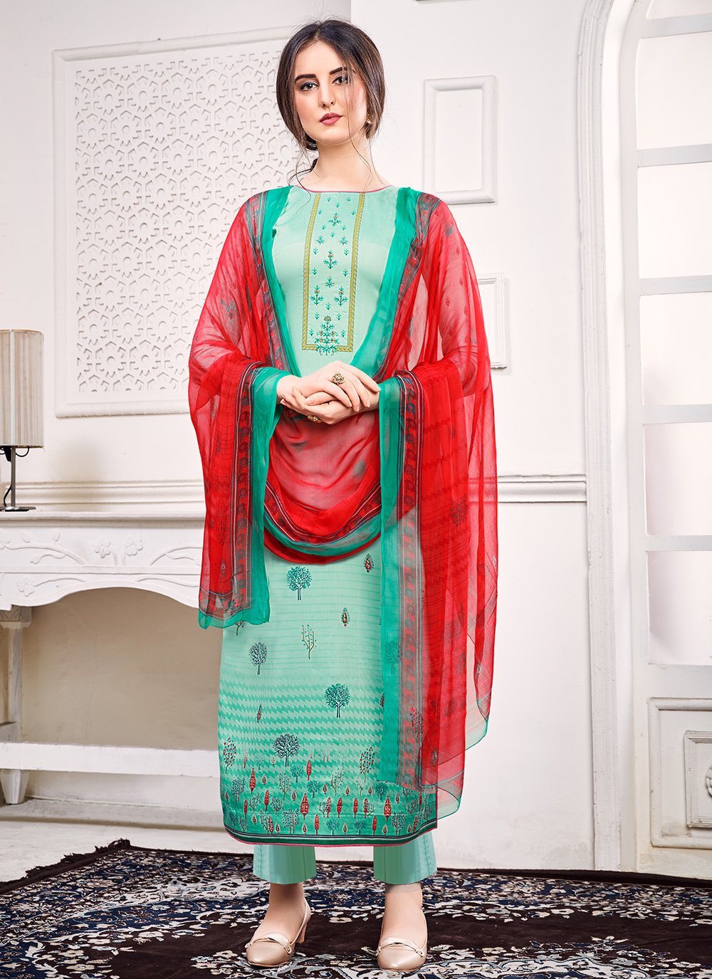 Satin Green Pant Style Suit