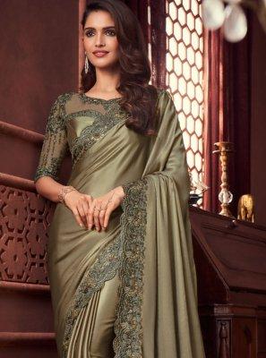 Satin Grey Designer Saree