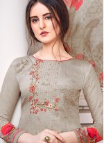 Satin Grey Embroidered Palazzo Salwar Suit