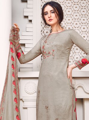 Satin Grey Embroidered Palazzo Salwar Suit