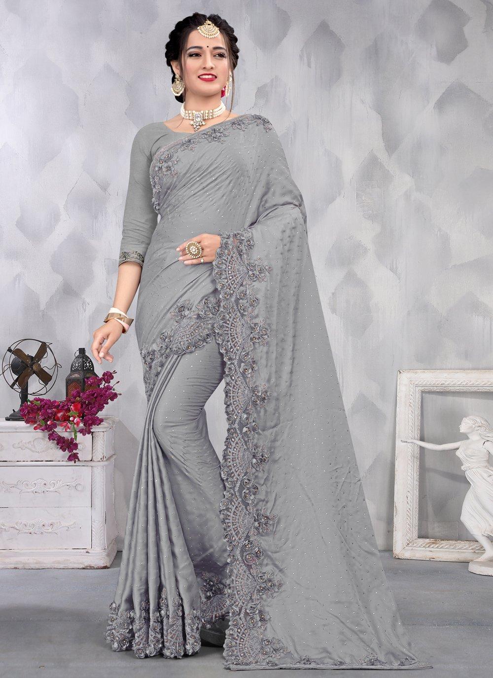 Satin Grey Sequins Designer Saree