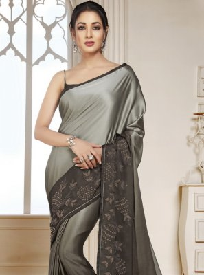 Satin Grey Swarovski Shaded Saree
