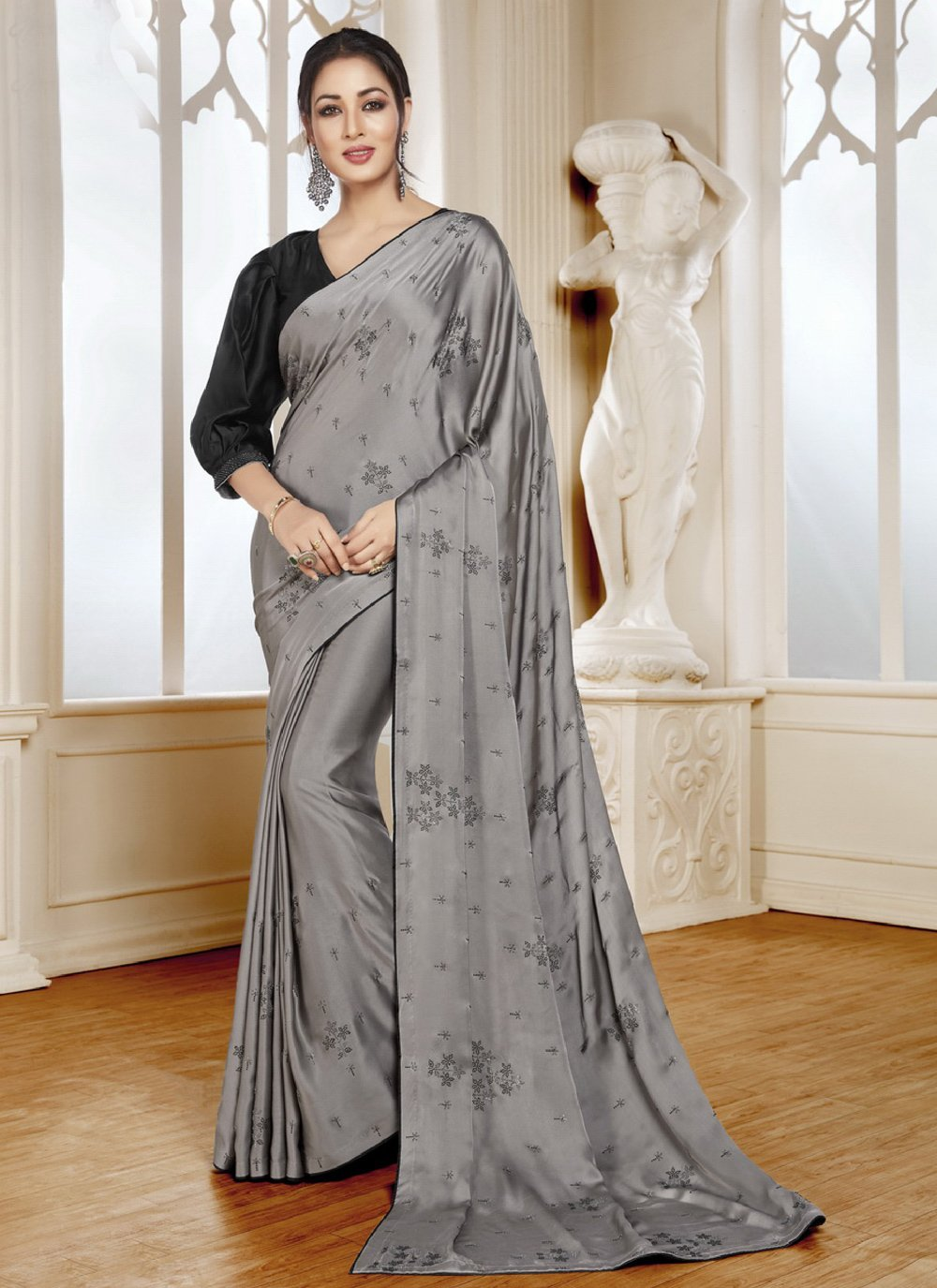 Satin Grey Trendy Saree