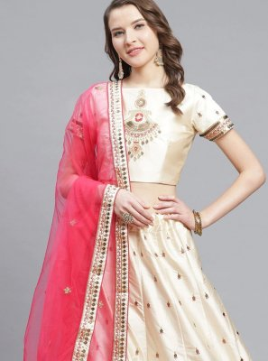 Satin Lehenga Choli in Cream