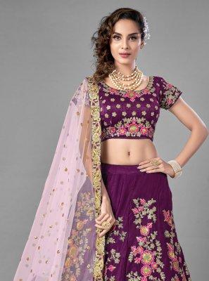 Satin Lehenga Choli in Purple