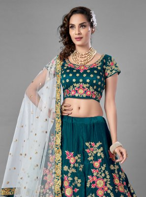 Satin Lehenga Choli in Rama