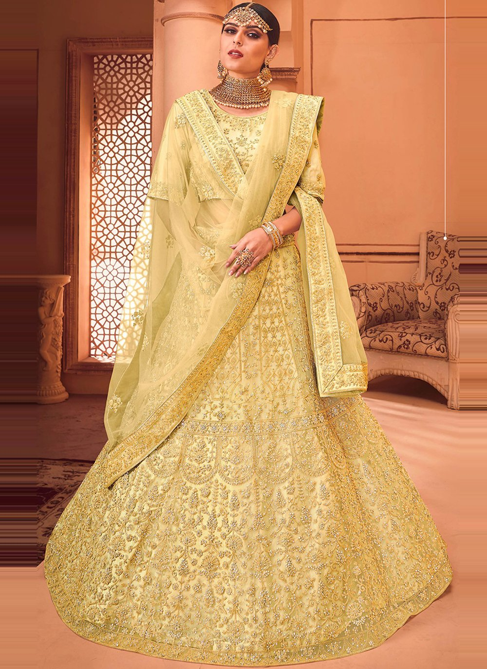 Satin Lehenga Choli in Yellow