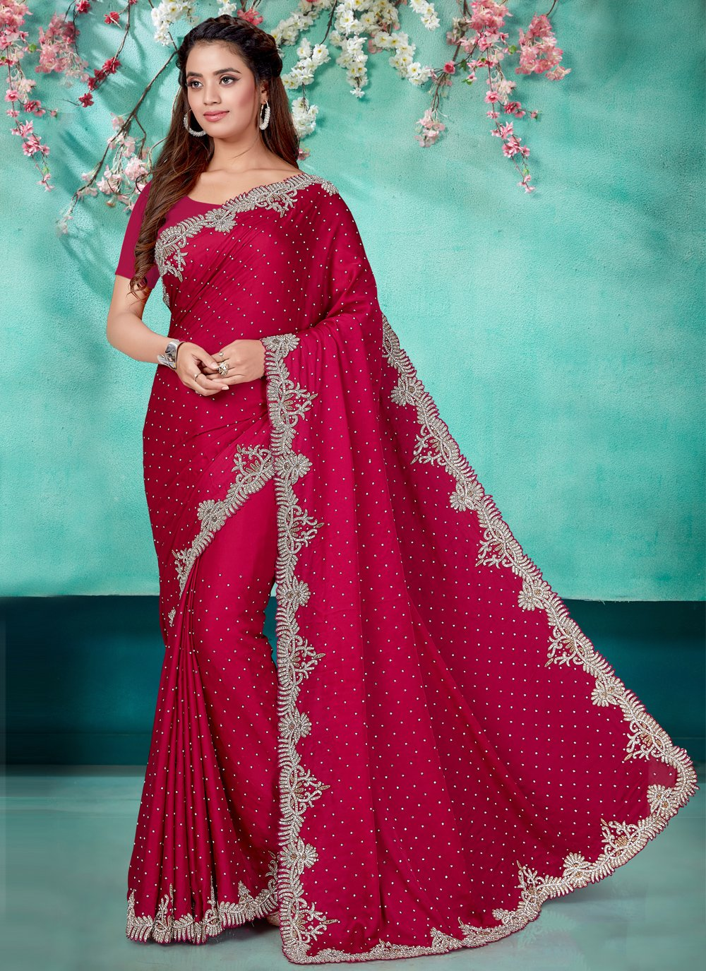 Satin Magenta Embroidered Classic Designer Saree
