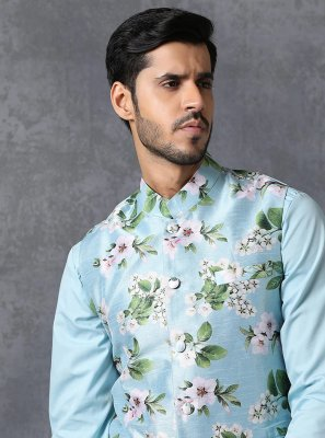 Satin Multi Colour Printed Nehru Jackets