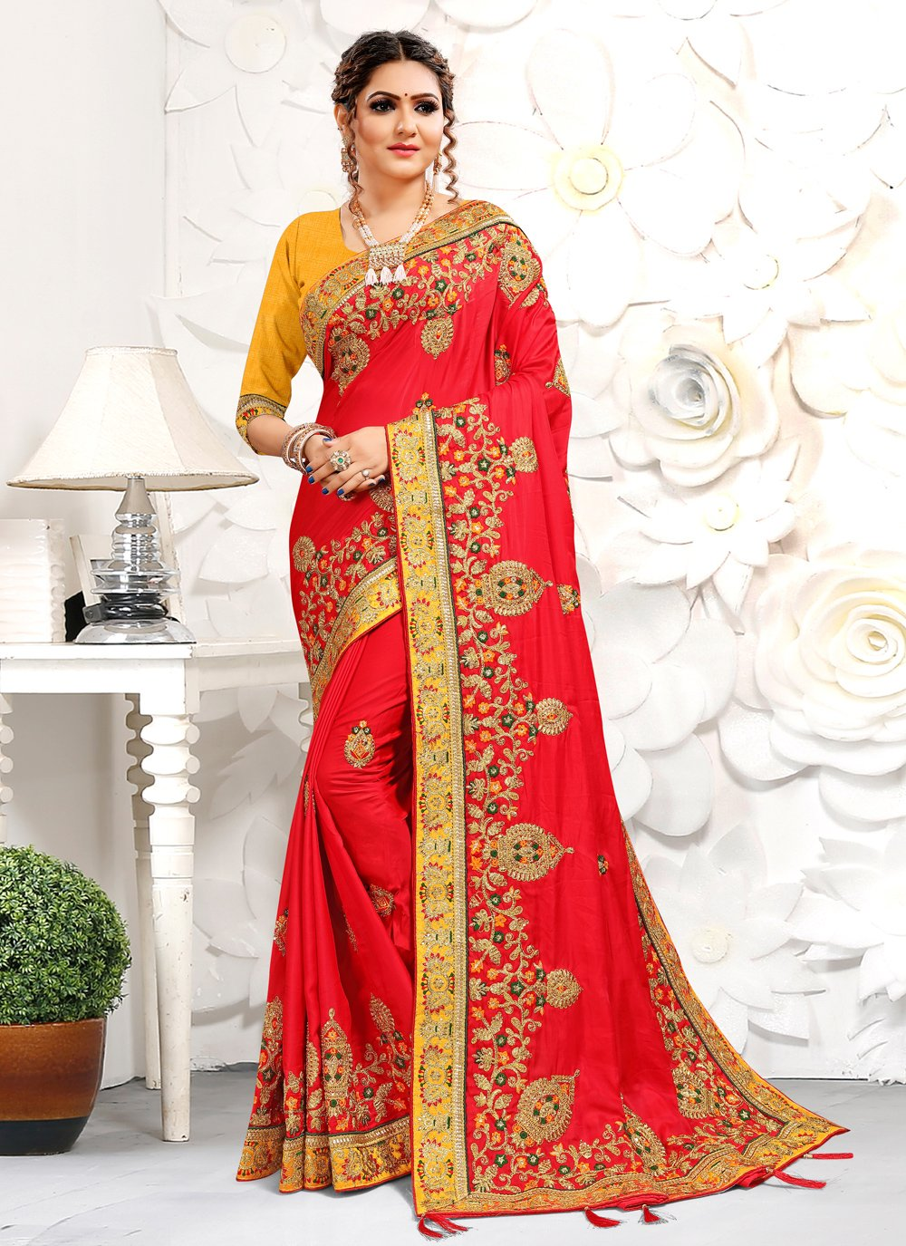 Satin Patch Border Red Designer Traditional Saree
