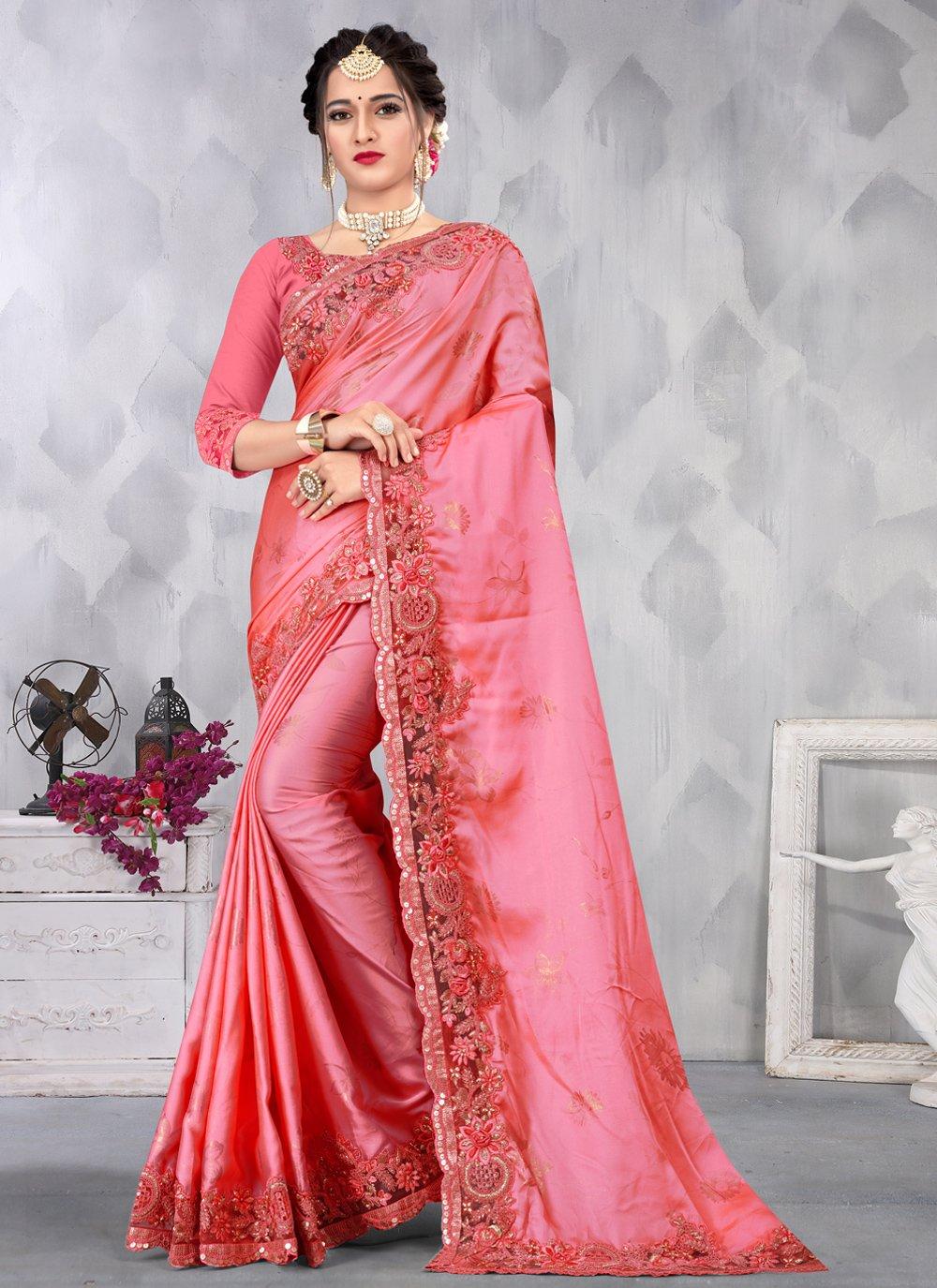 Satin Pink Designer Saree