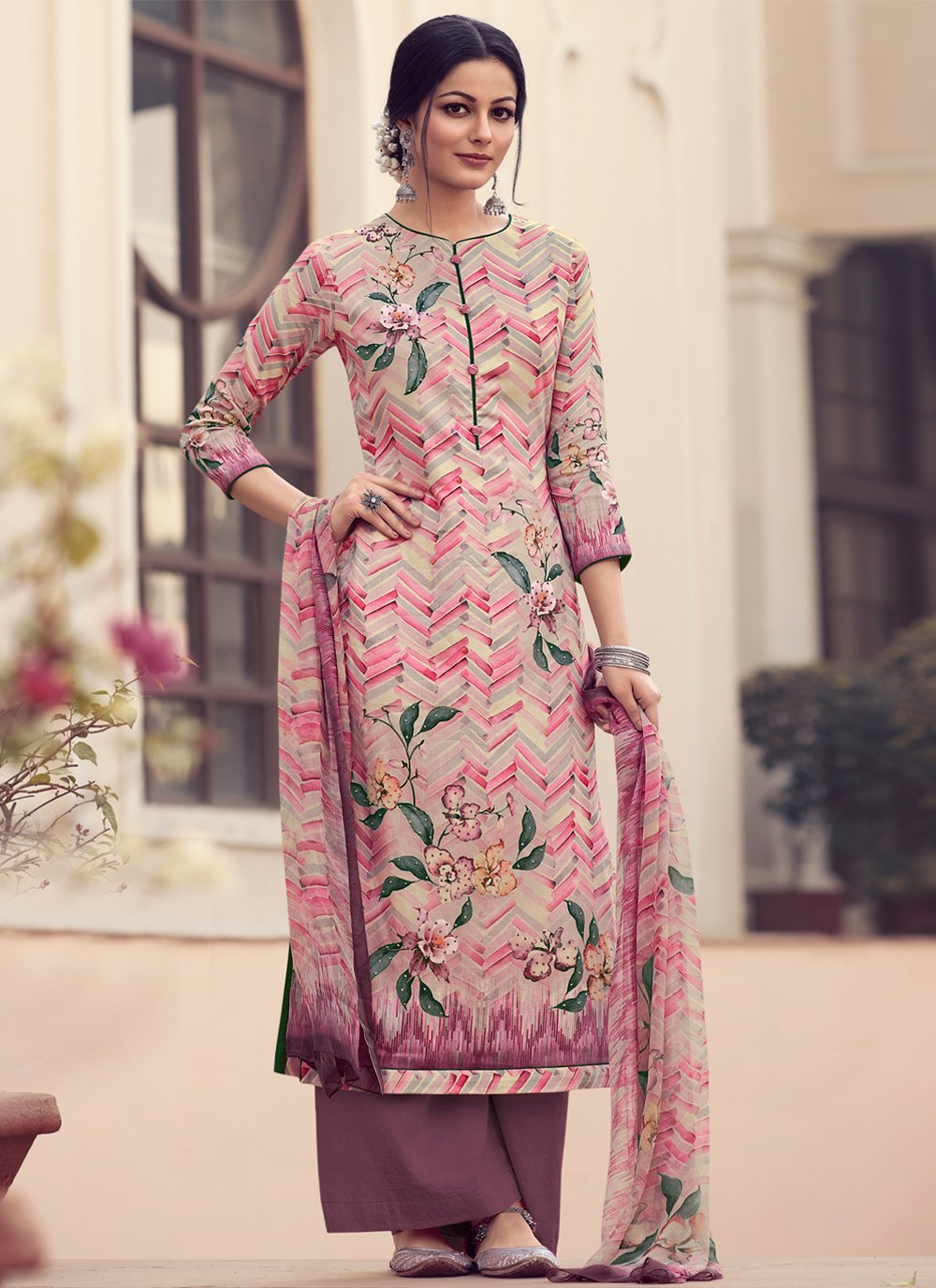 Satin Pink Embroidered Designer Palazzo Suit