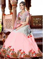 Satin Pink Embroidered Lehenga Choli