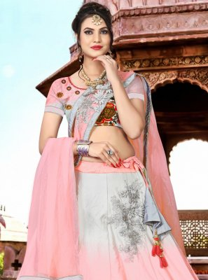 Satin Pink Embroidered Lehenga Choli