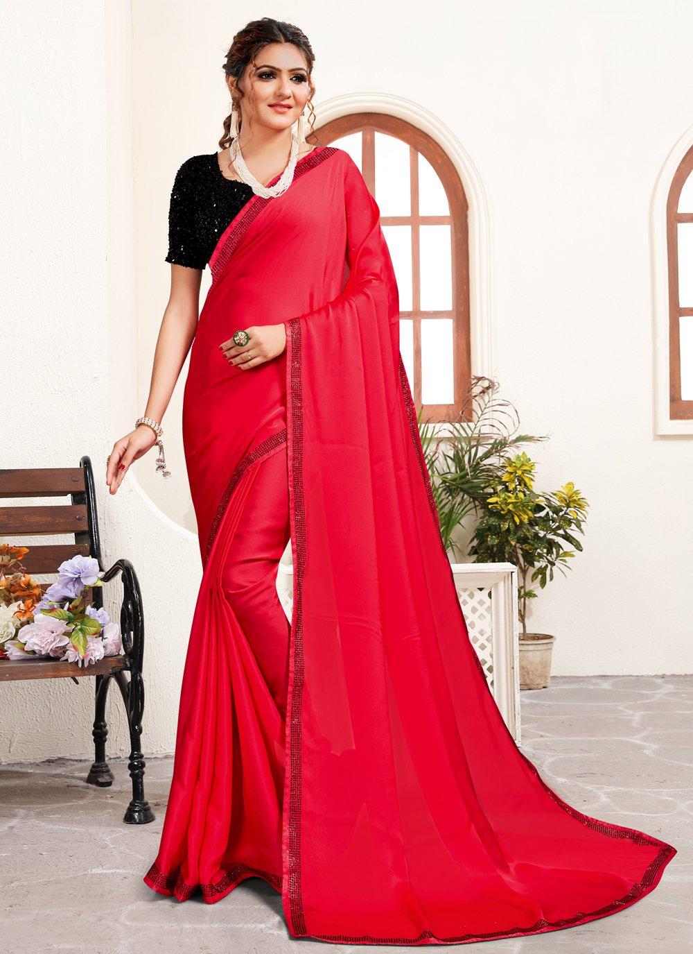 Satin Pink Stone Work Classic Saree