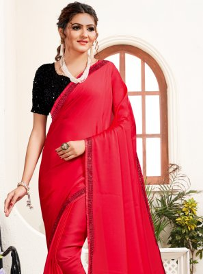 Satin Pink Stone Work Classic Saree