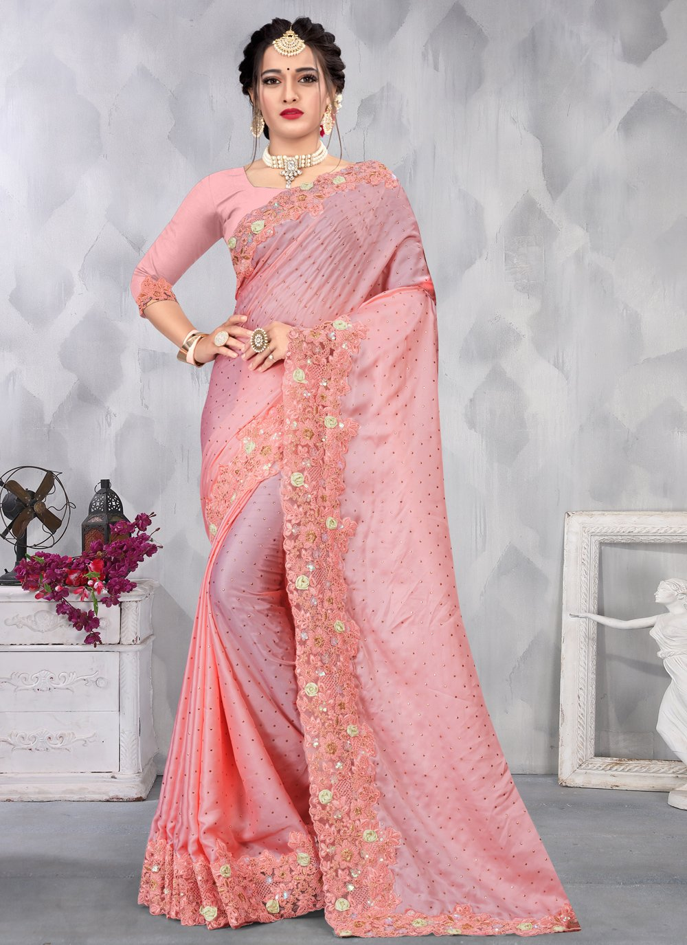 Satin Pink Trendy Saree