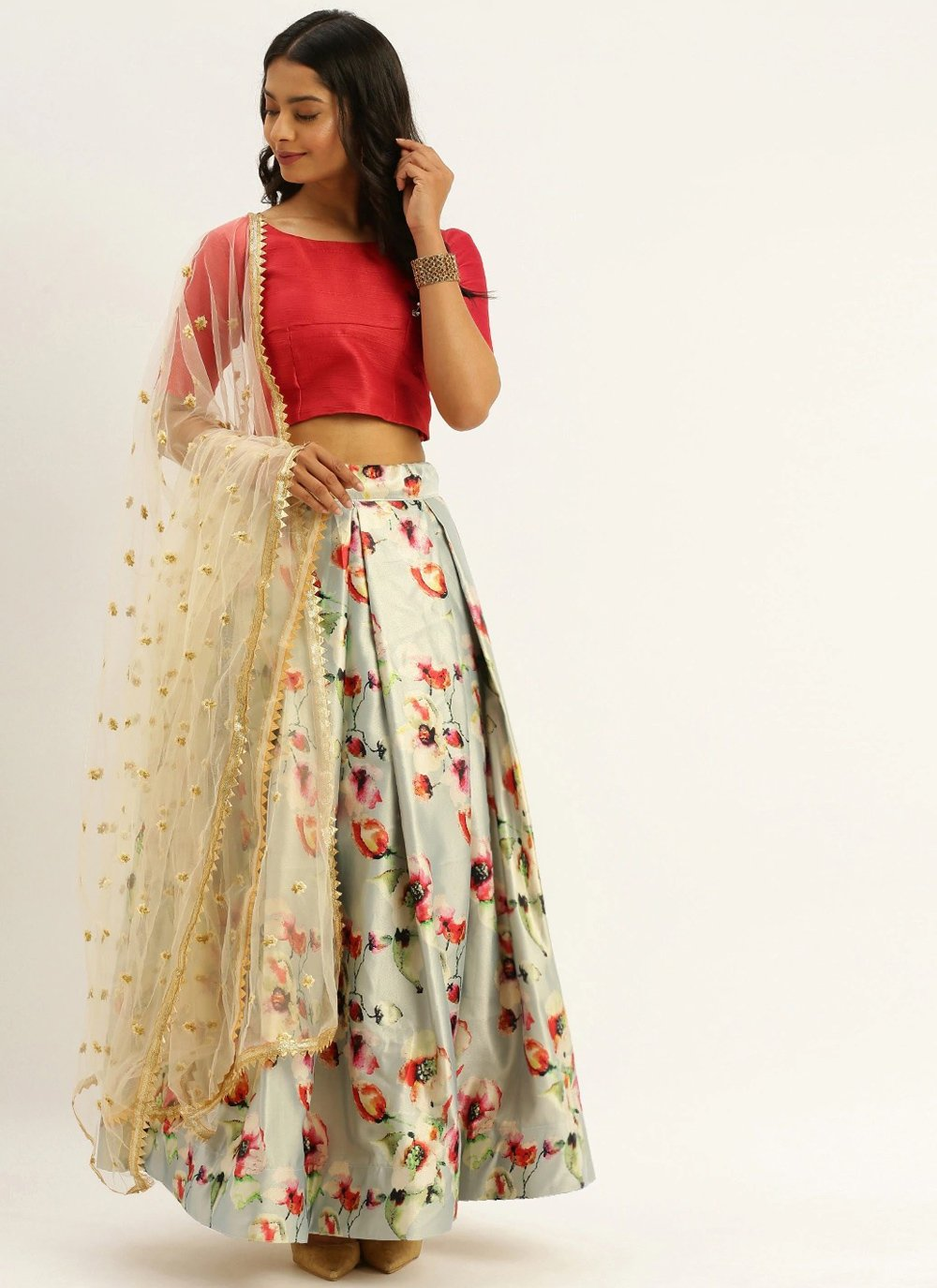 Satin Print Multi Colour Lehenga Choli
