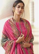 Satin Printed Designer Palazzo Salwar Kameez in Pink