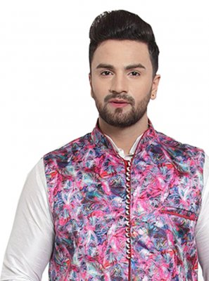 Satin Printed Multi Colour Nehru Jackets