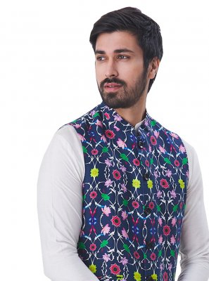 Satin Printed Nehru Jackets in Multi Colour