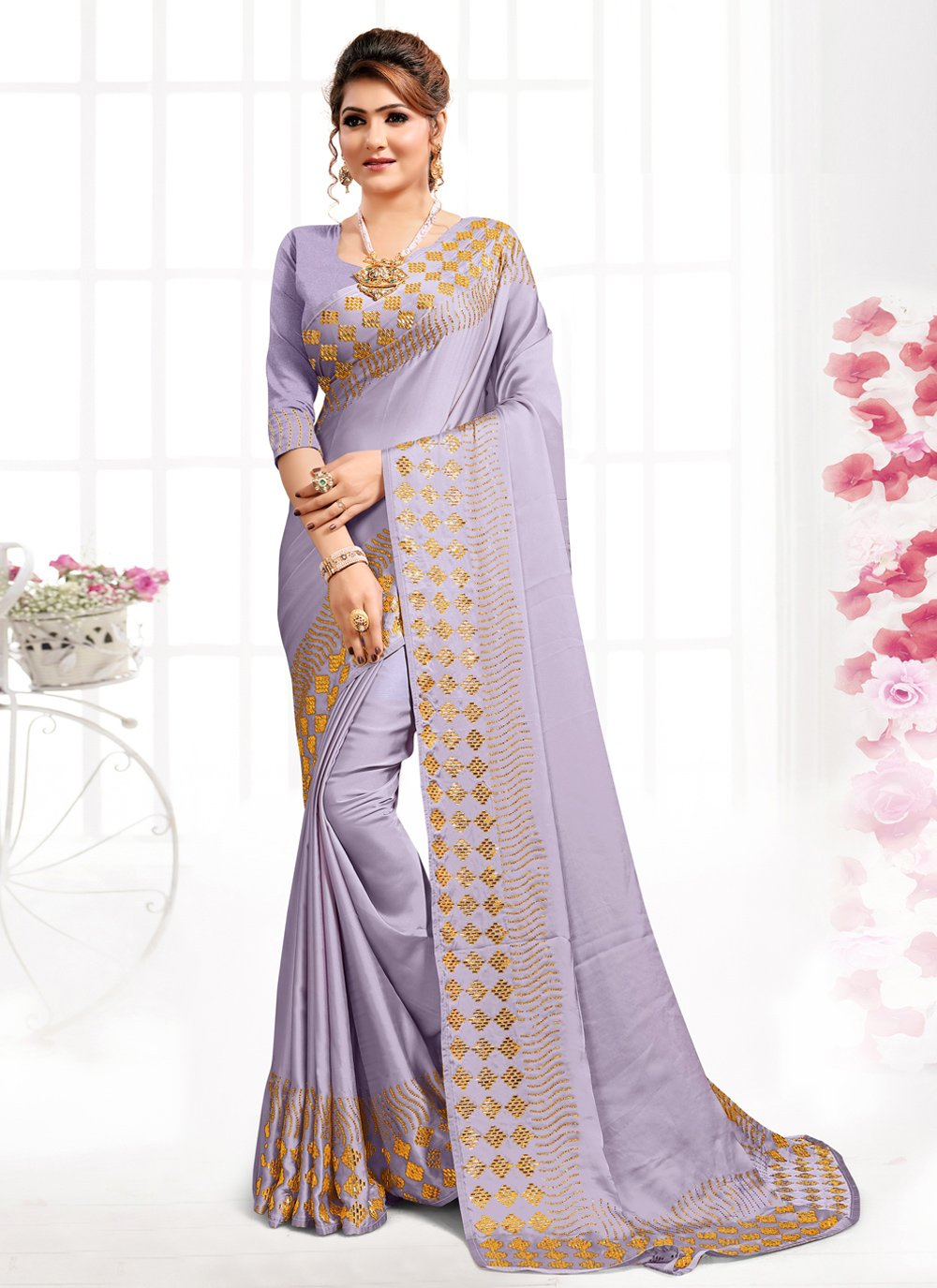 Satin Purple Designer Saree