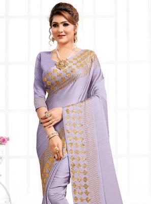 Satin Purple Designer Saree