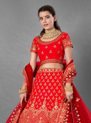 Satin Red Embroidered A Line Lehenga Choli
