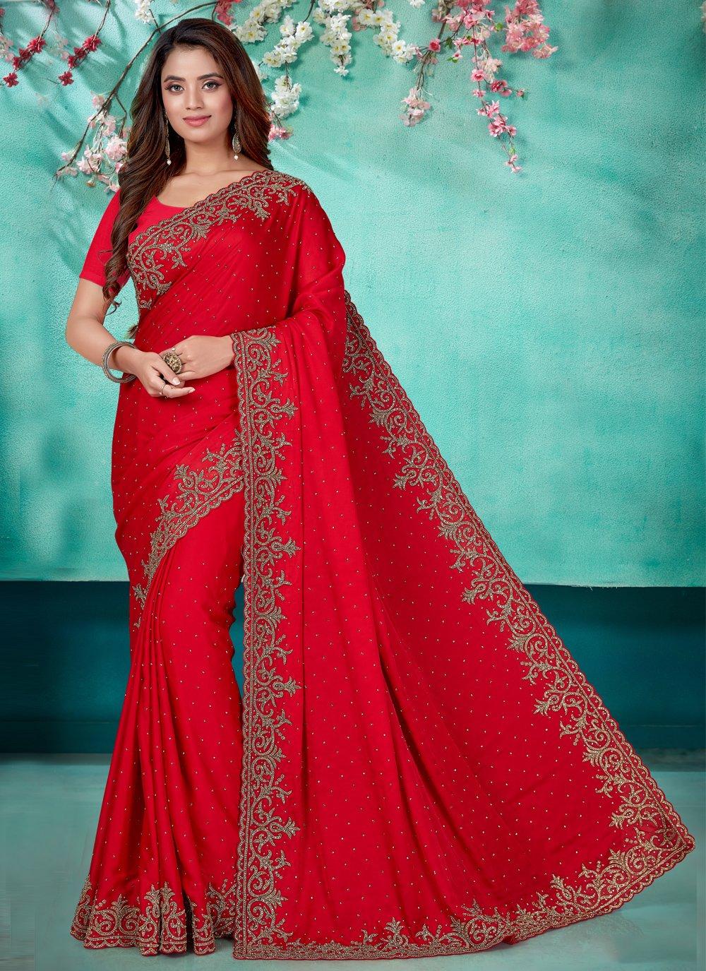 Satin Red Embroidered Classic Designer Saree