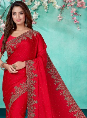 Satin Red Embroidered Classic Designer Saree