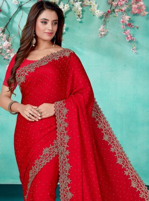 Satin Red Embroidered Designer Saree