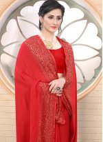 Satin Red Fancy Trendy Saree