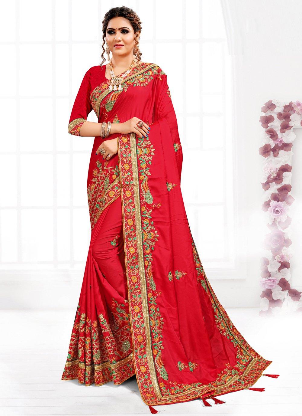 Satin Red Resham Traditional Designer Saree