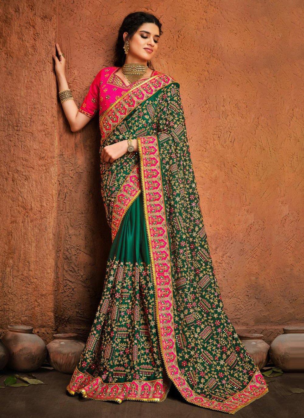 Satin Resham Green Classic Designer Saree