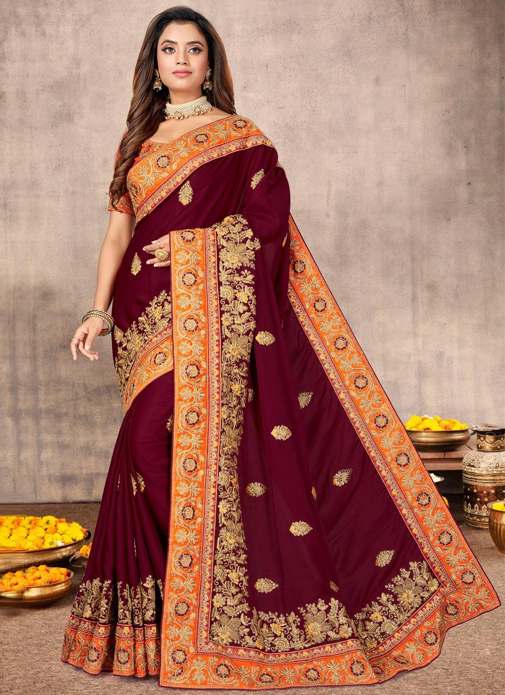 Satin Resham Traditional Designer Saree in Wine