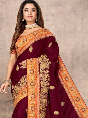 Satin Resham Traditional Designer Saree in Wine