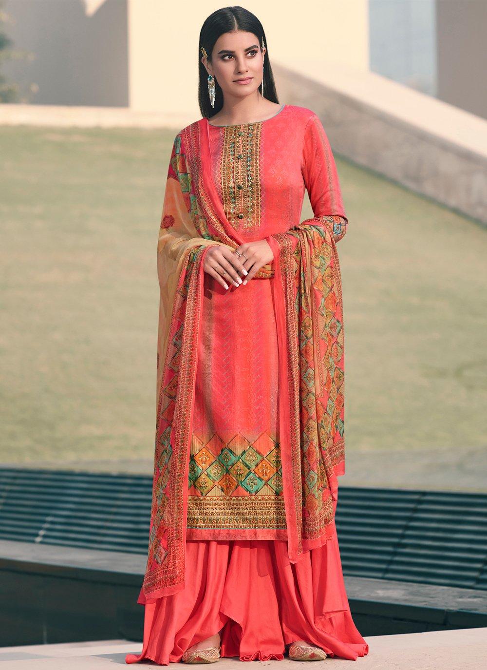 Satin Rose Pink Designer Palazzo Suit