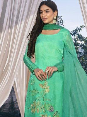 Satin Sea Green Digital Print Designer Pakistani Suit