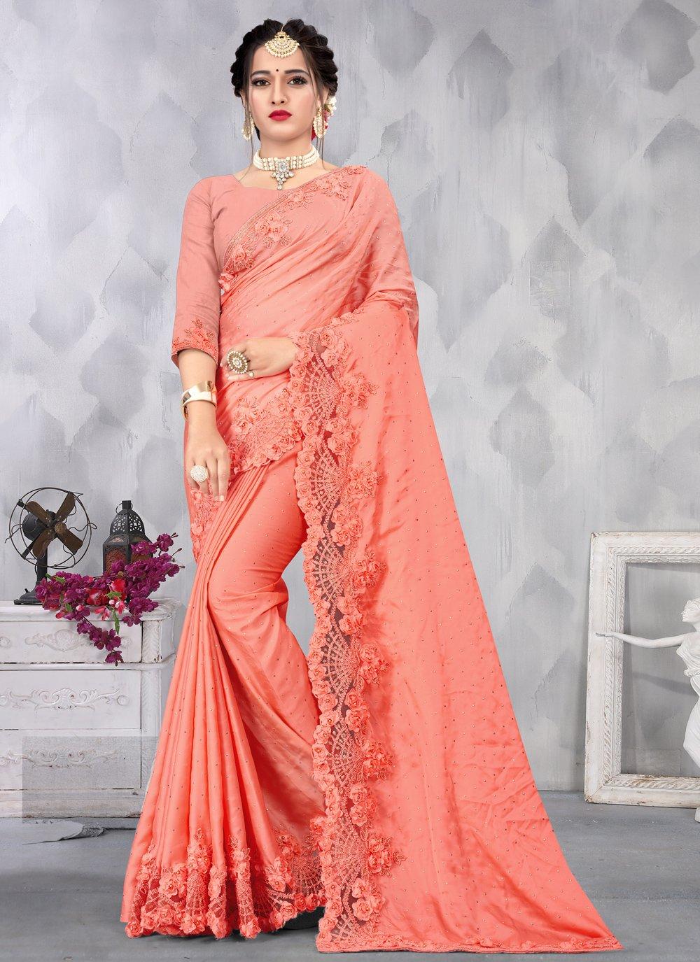 Satin Sequins Peach Designer Saree