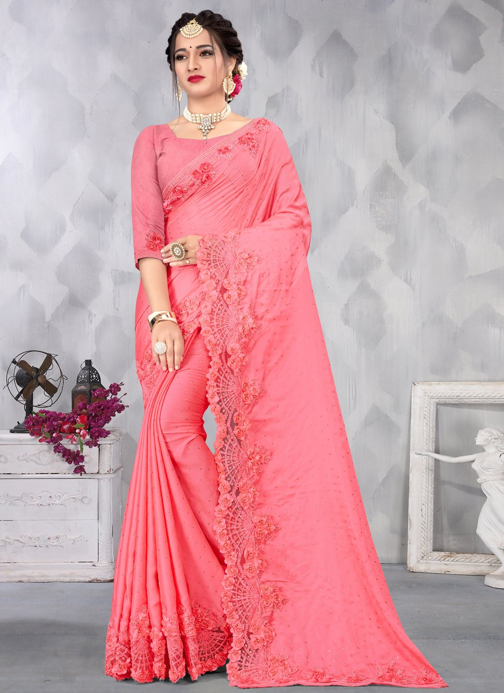 Satin Sequins Pink Designer Saree