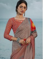 Satin Silk Abstract Print Multi Colour Printed Saree