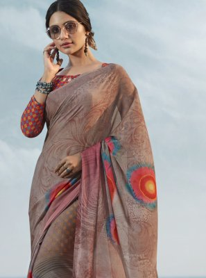 Satin Silk Abstract Print Multi Colour Printed Saree
