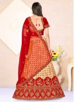 Satin Silk Beige and Red Weaving Lehenga Choli