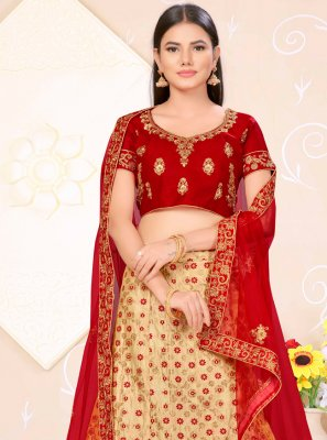 Satin Silk Beige and Red Weaving Lehenga Choli