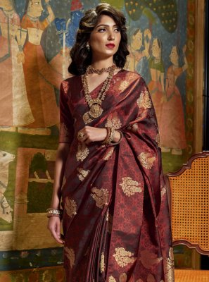 Satin Silk Brown Weaving Designer Traditional Saree