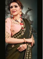 Satin Silk Designer Saree in Green