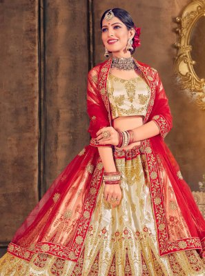 Satin Silk Embroidered A Line Lehenga Choli