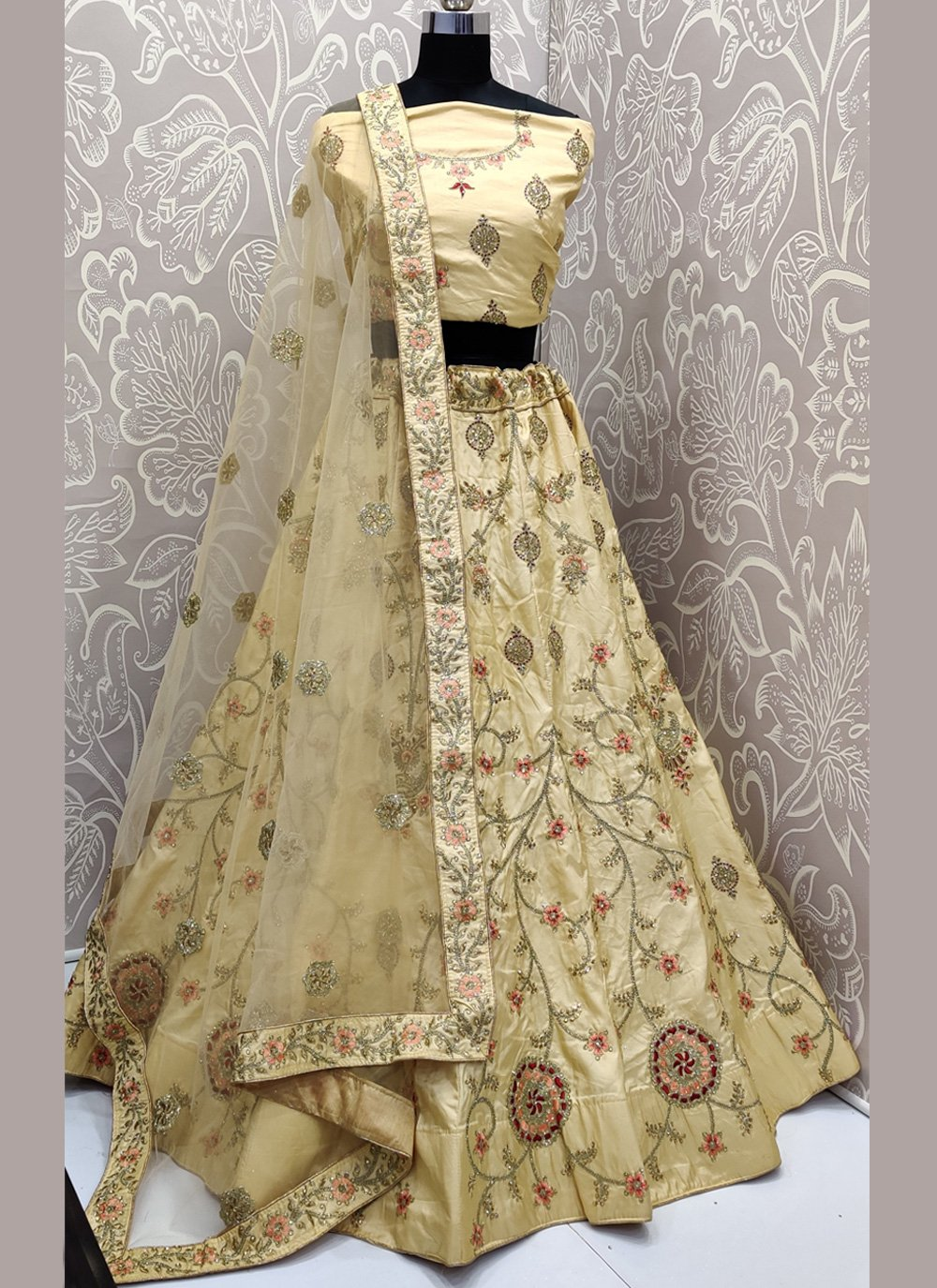 Satin Silk Embroidered Beige Trendy Lehenga Choli